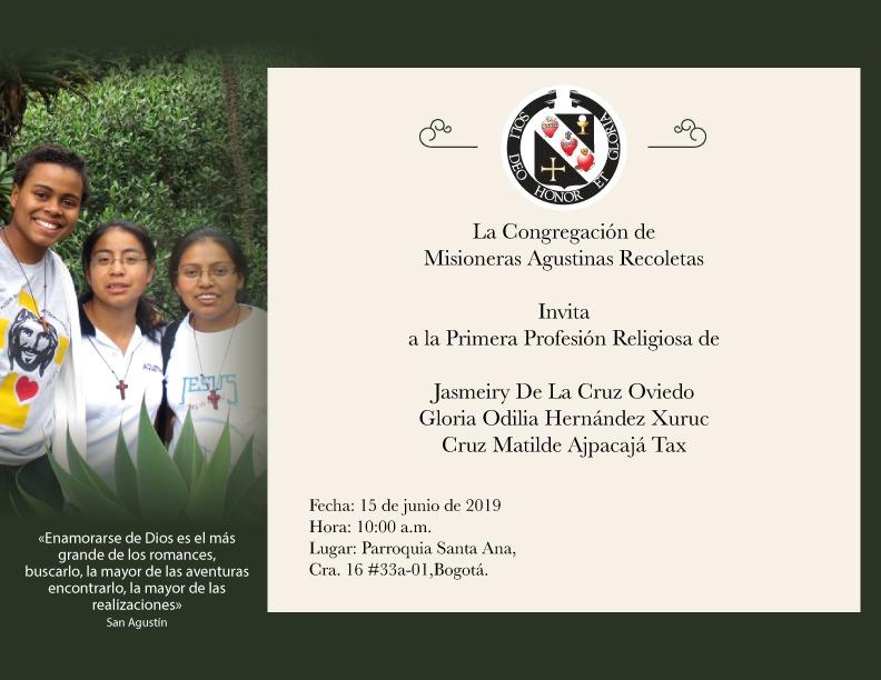 INVITACIÓN A LA PRIMERA PROFESIÓN RELIGIOSA