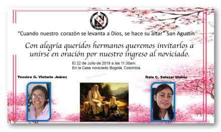 INVITACIÓN: INGRESO AL NOVICIADO DE YESSICA VICTORIA E ÍTALA SALAZAR