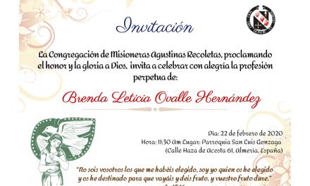 INVITACIÓN: PROFESIÓN PERPETUA